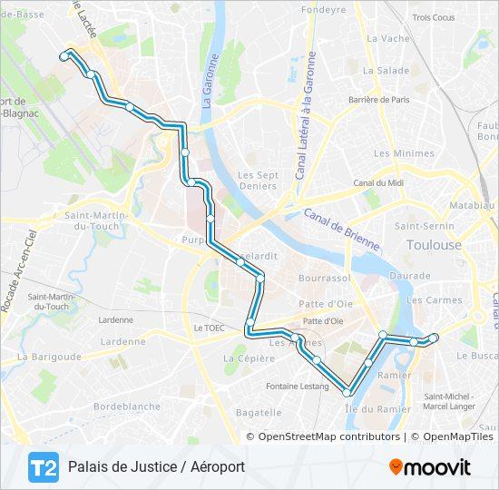 Toulouse Karte.Linie T2 Fahrplane Haltestelle Karten Palais De