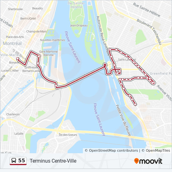 55 Route: Time Schedules, Stops & Maps
