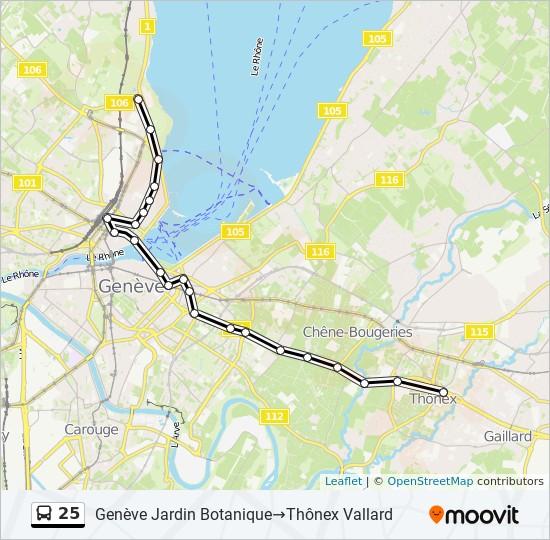 Linie 25 Fahrplane Haltestelle Karten Geneve Jardin Botanique