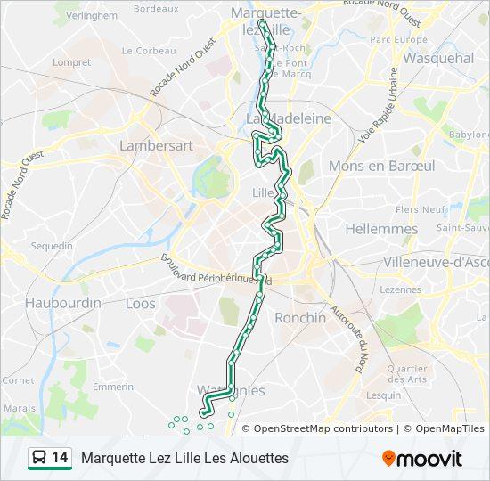 Carte Bus Lille.14 Route Time Schedules Stops Maps Marquette Lez Lille