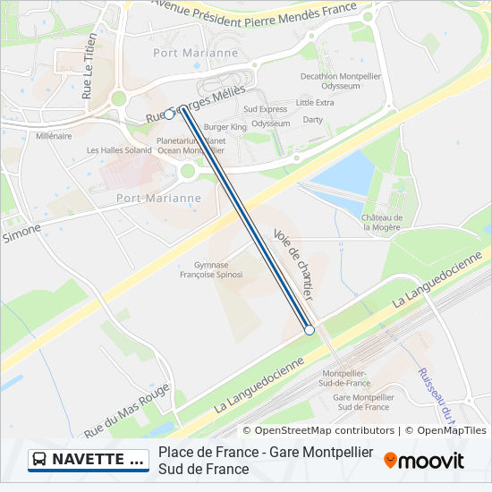 Montpellier On Map Of France.Navette Gare Route Time Schedules Stops Maps Montpellier