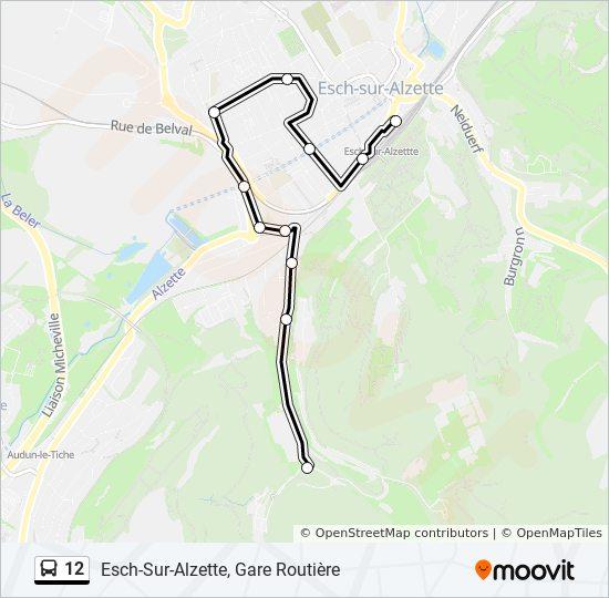 Plan de la ligne 12 de bus
