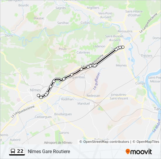 22 Route Time Schedules Stops Maps Nîmes Gare Routiere