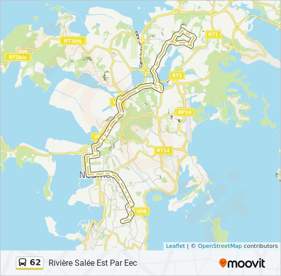 62 bus Line Map