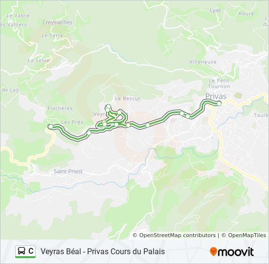 Ligne C: Horaires, Stations & Plans - Privas Cours Du Palais