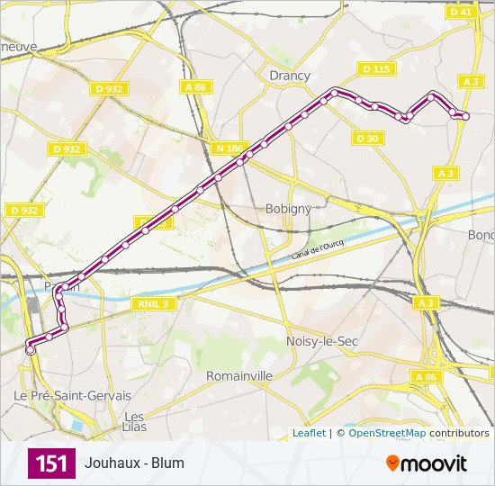 151 Route: Time Schedules, Stops & Maps - Jouhaux - Blum on