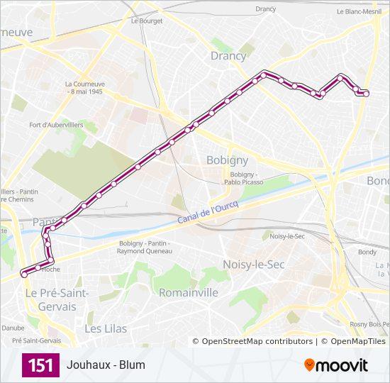 Ligne 151 horaires stations plans - Station service porte de pantin ...