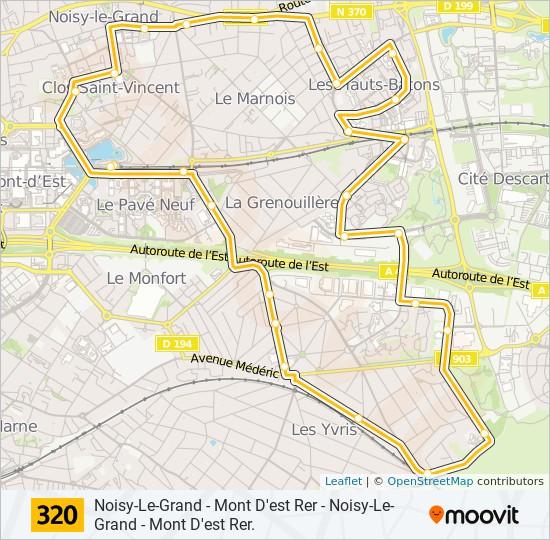 noisy le grand carte 320 Route: Time Schedules, Stops & Maps   Noisy Le Grand   Mont D