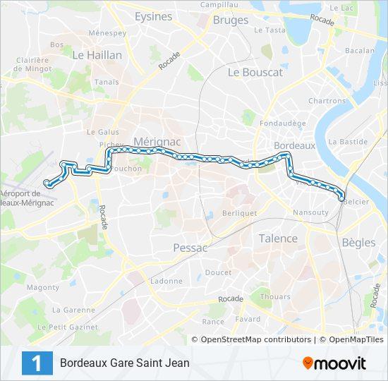 Carte Bordeaux Transport En Commun.Ligne 1 Horaires Stations Plans Bordeaux Gare Saint Jean