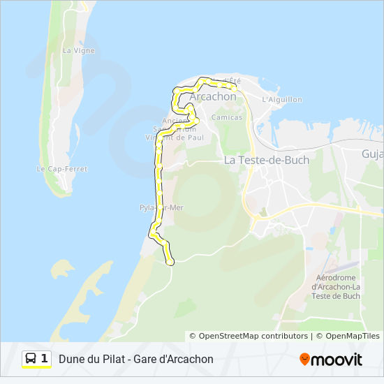 1 Route: Time Schedules, Stops & Maps - Gare D'Arcachon <> Dune Du on