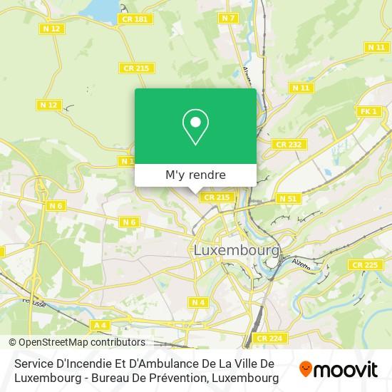 Service D'Incendie Et D'Ambulance De La Ville De Luxembourg - Bureau De Prévention plan