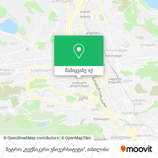 """მეტრო """"ტექნიკური უნივერსიტეტი"""" რუკა"""