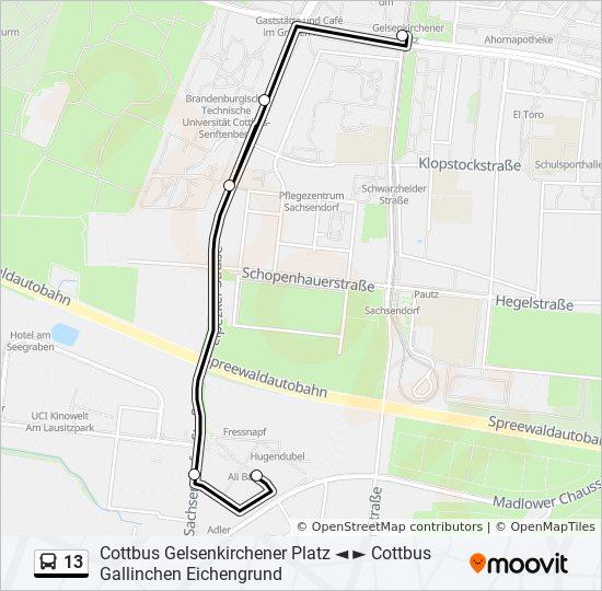 Lausitz Karte.Linie 13 Fahrplane Haltestelle Karten Cottbus Gross