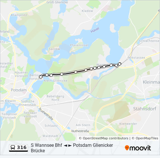 Historische Karte Potsdam.Linie 316 Fahrplane Haltestelle Karten Potsdam