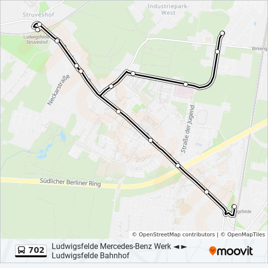 702 Route: Time Schedules, Stops & Maps - Ludwigsfelde Mercedes-Benz