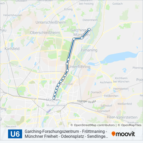 U6 Route Time Schedules Stops Maps Garchin Forschungszentrum