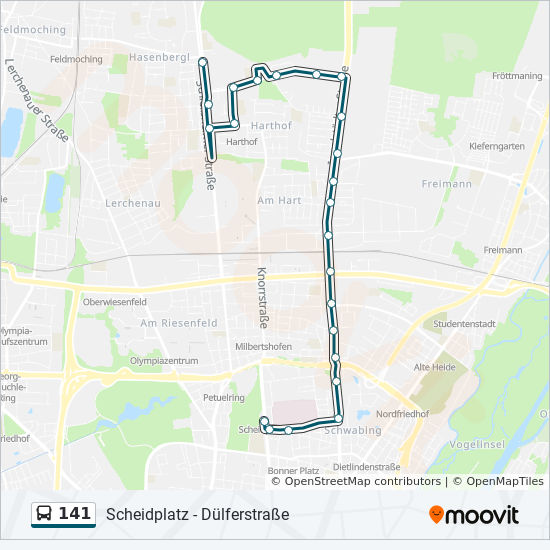 141 Route Time Schedules Stops Maps Dulferstrasse