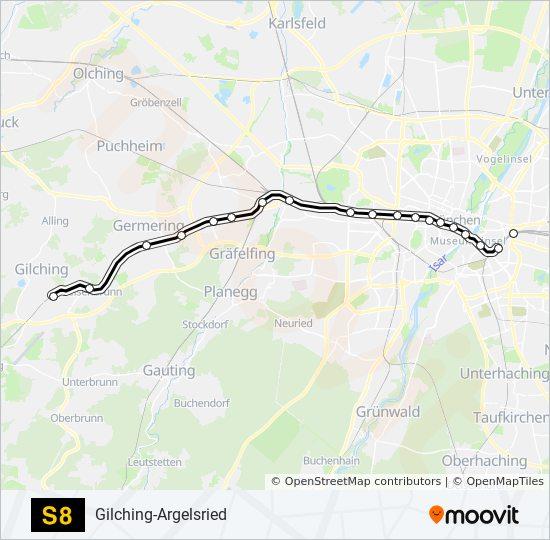 Karte München S Bahn Netz.Linie S8 Fahrpläne Haltestelle Karten Gilching Argelsried
