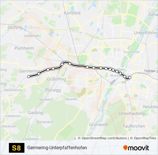 S8 Route Time Schedules Stops Maps Germering Unterpfaffenhofen
