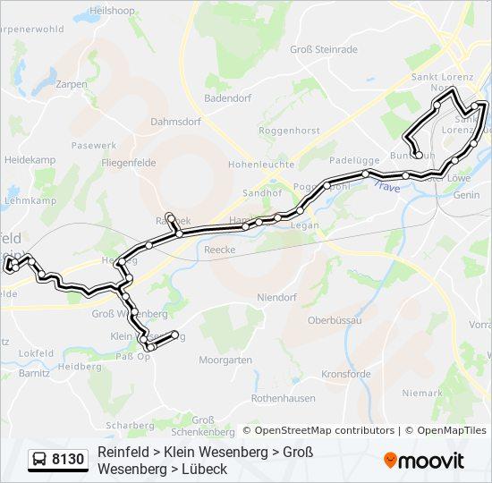 Karte Lübeck.Linie 8130 Fahrpläne Haltestelle Karten Lübeck Karavellenstraße