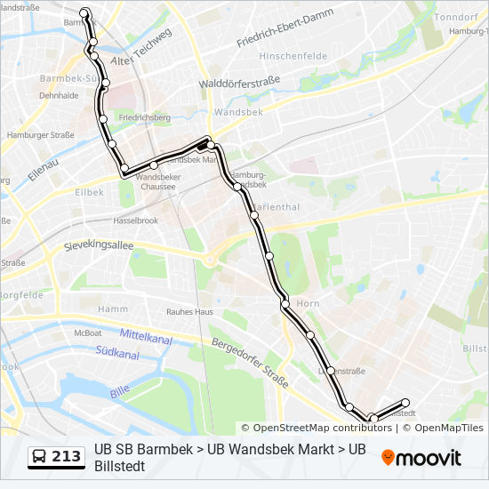 213 Route Time Schedules Stops Amp Maps U S Barmbek
