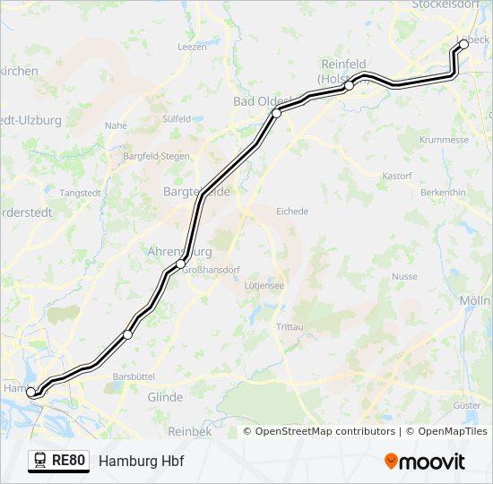 Hamburg Hauptbahnhof Karte.Linie Re80 Fahrpläne Haltestelle Karten Hamburg Hbf