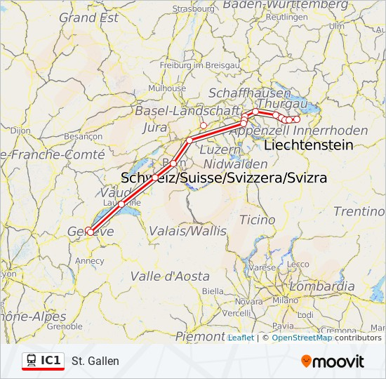 IC1 Route: Time Schedules, Stops & Maps - St. Gallen