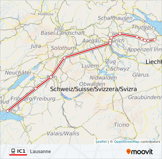IC1 Route: Time Schedules, Stops & Maps - Lausanne on