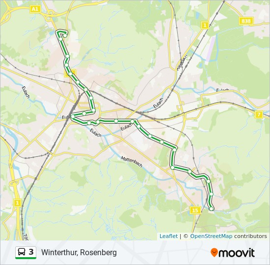 3 Route: Time Schedules, Stops & Maps - Winterthur, Rosenberg
