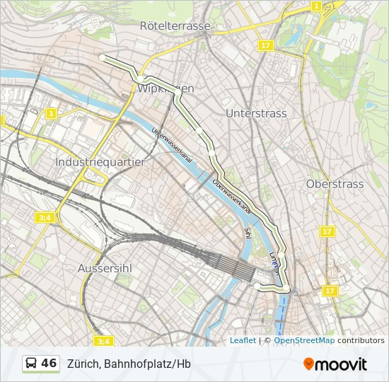 46 Route: Time Schedules, Stops & Maps - Zürich, Bahnhofplatz/Hb on zurich rail station map, antwerp central station map, zurich germany map, amsterdam central map, zurich airport map, zurich s-bahn map, zurich bahnhof map,