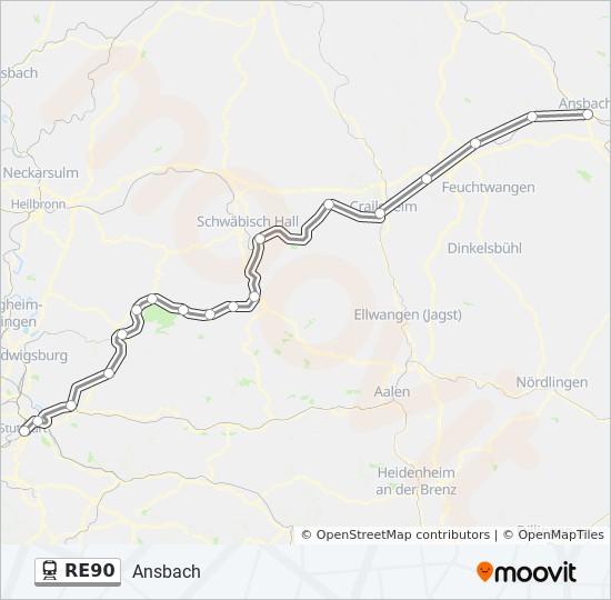 Linie Re90 Fahrplane Haltestellen Karten Ansbach