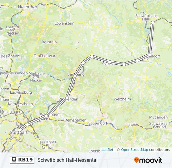 Linie Rb19 Fahrplane Haltestellen Karten Schwabisch Hall