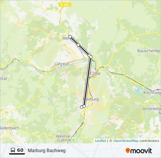 Linie 60 Fahrplane Haltestellen Karten Marburg Bachweg