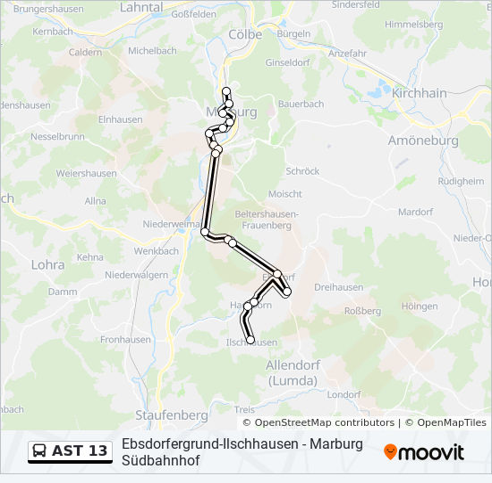 AST 13 otobüs Hat Haritası