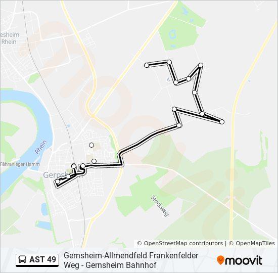 AST 49 otobüs Hat Haritası