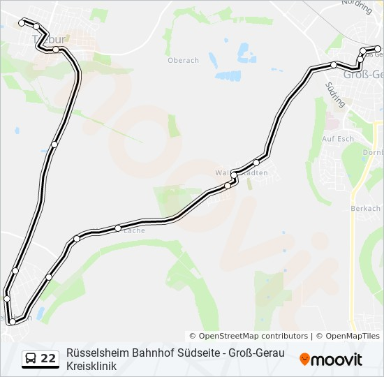 22 bus Line Map