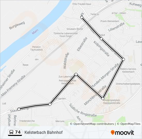 Автобус 74: карта маршрута
