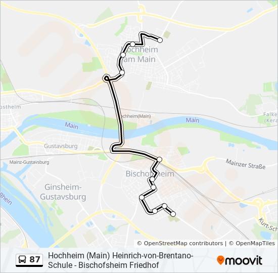 87 otobüs Hat Haritası
