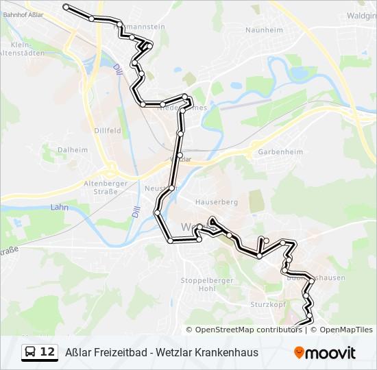 Linie 12 Fahrplane Haltestellen Karten Wetzlar Bahnhof Zob