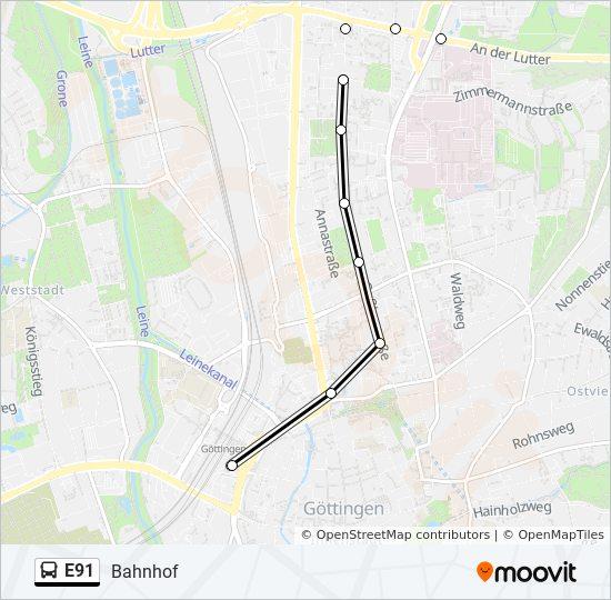 Linie E91 Fahrpläne Haltestelle Karten Bahnhof