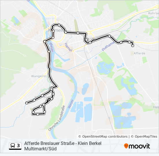 Hameln Karte.Linie 3 Fahrpläne Haltestelle Karten Hameln City Pfortmühle