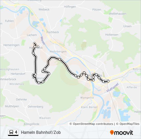 Hameln Karte.Linie 4 Fahrpläne Haltestelle Karten Hameln Bahnhof Zob