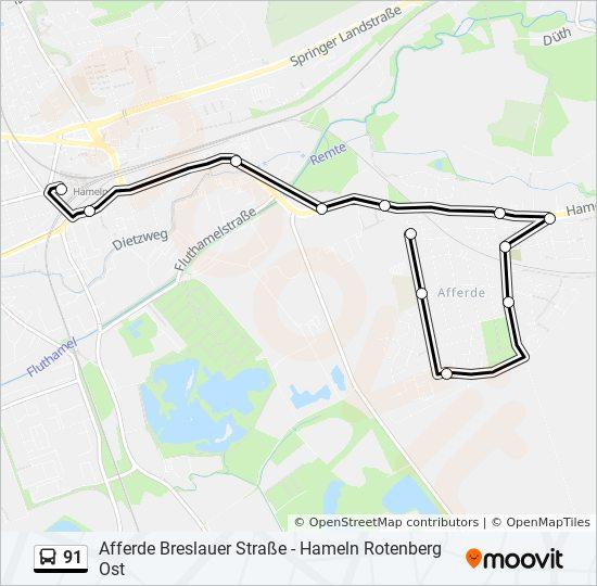 Hameln Karte.Linie 91 Fahrpläne Haltestelle Karten Hameln Bahnhof Zob