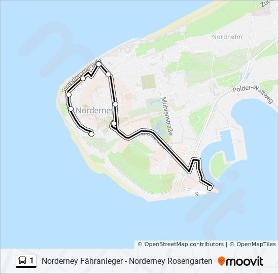 Norderney Karte Straßen.Linie 1 Fahrpläne Haltestelle Karten Norderney