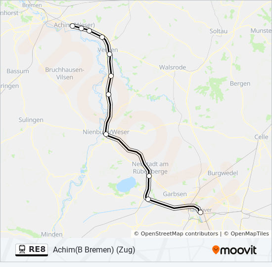 Niedersachsen Karte Pdf.Linie Re8 Fahrpläne Haltestelle Karten Hannover Hbf