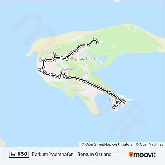 Borkum Karte Strassen.Linie 650 Fahrplane Haltestelle Karten Borkum