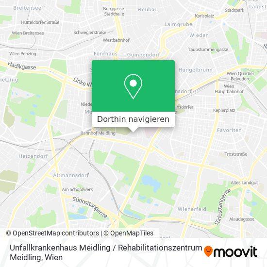 Unfallkrankenhaus Meidling / Rehabilitationszentrum Meidling Karte