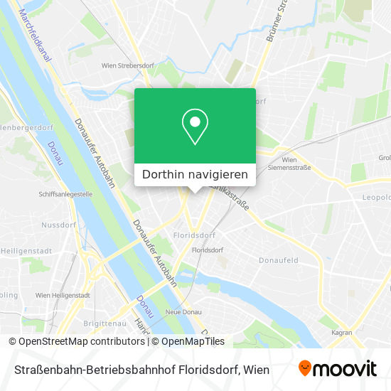 Straßenbahn-Betriebsbahnhof Floridsdorf Karte