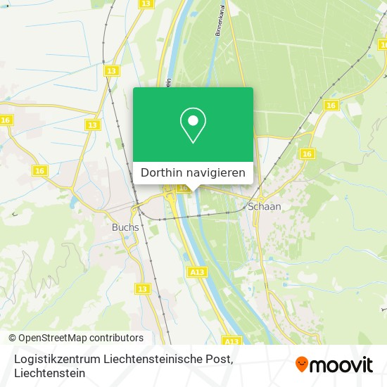 Logistikzentrum Liechtensteinische Post Karte