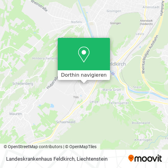 Landeskrankenhaus Feldkirch Karte